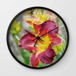 Butterfly On Lily Wall Clock