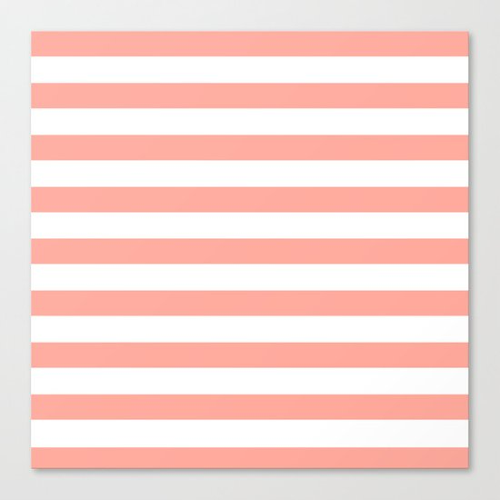 Simply Striped in Salmon Pink and White Canvas Print