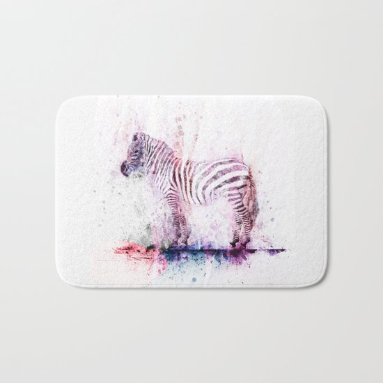 Watercolor Wash Zebra Bath Mat