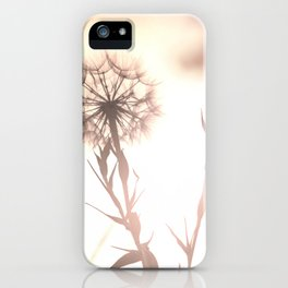 Pink Distant Dandelion Flower - Floral Nature Photography Art and Accessories iPhone Case