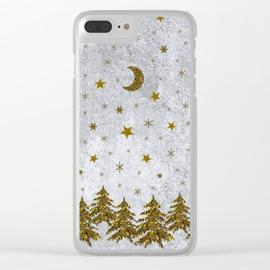 Sparkly Christmas tree, stars, moons on abstract paper Clear iPhone Case
