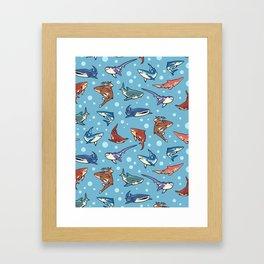 Sharks in the light blue Framed Art Print