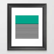 STRIPE COLORBLOCK {EMERALD GREEN} Framed Art Print