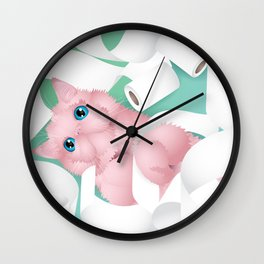naughty toilet paper cat Wall Clock