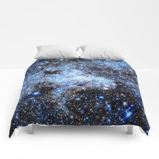 gAlaxY : Blue Sparkle Stars Comforters