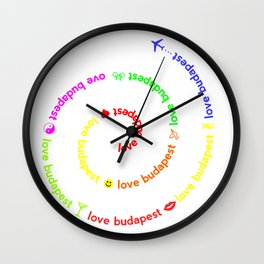 Love Budapest, icons, colors Wall Clock