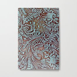 Light Blue & Brown Tooled Leather Metal Print