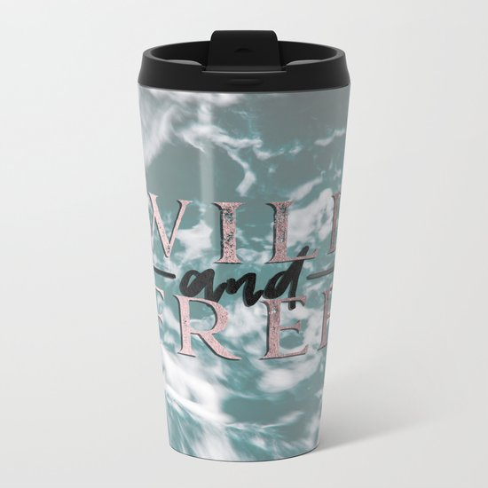 Wild and Free Waves in Rose Gold Metal Travel Mug