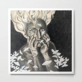 Woman & Moths  Metal Print