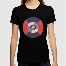 Simple geometric discs pattern red and silver T-shirt