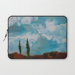 Cypress Trees encaustic wax painting by Seasons Kaz Sparks Laptop Sleeve