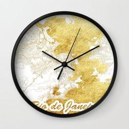 Rio de Janerio Map Gold Wall Clock