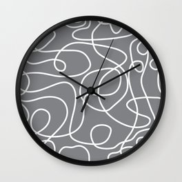 Doodle Line Art | White Lines on Gray Wall Clock