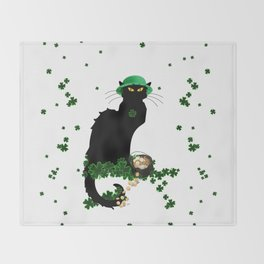 Le Chat Noir - St Patrick's Day Throw Blanket