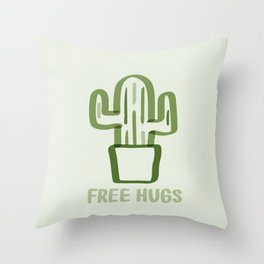 """Free Hugs"" Cactus Illustration Green Throw Pillow"