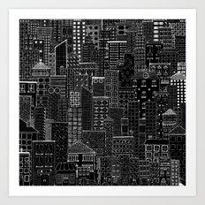 City Doodle (night) Art Print