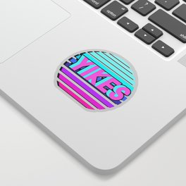 """Vaporwave pattern with palms and words """"yikes"""" #2 Sticker"""