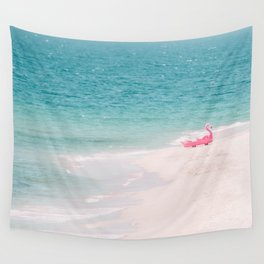 Pink Flamingo Beach Wall Tapestry