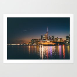 Boat crossing Toronto Skyline Art Print