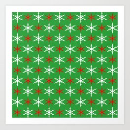 Red and white snowflakes pattern Art Print