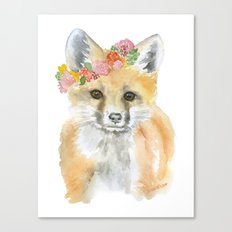 Fox Floral Watercolor Painting Canvas Print