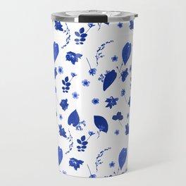 Blue Floral Pressed Flower and Leaf Pattern Travel Mug