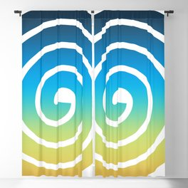 Blue and Green Spiral Blackout Curtain