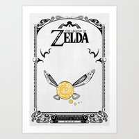 legend of zelda Art Prints featuring Zelda legend - Navi by Art & Be