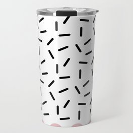 Black Sprinkles Pink Dots Travel Mug