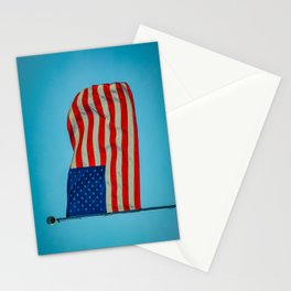 Old Glory Glowing in a Blue Sky American Flag Stationery Cards