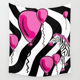 Little Pink Zebra's Dream Balloons Wall Tapestry