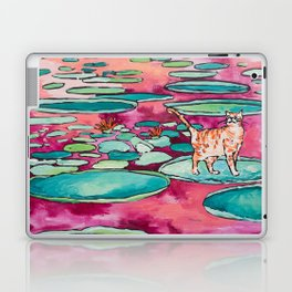 Ginger Cat amongst the Lily Pads on a Pink Lake Laptop & iPad Skin