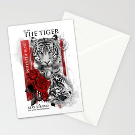 In me the tiger sniffs the rose Stationery Cards