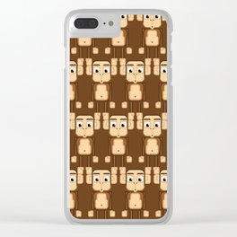 Super cute animals - Cheeky Brown Monkey Clear iPhone Case