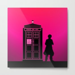 Tardis With The Sixth Doctor Metal Print