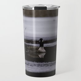 Canadian Geese on frozen lake Travel Mug