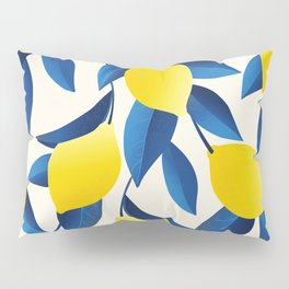 Yellow Limons and Blue Leaves Pillow Sham