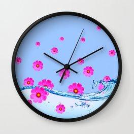 FUCHSIA PUPPLE COSMOS FLORAL PATTERN & WATER ART Wall Clock