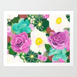 Floral Cactus Explosion Art Print