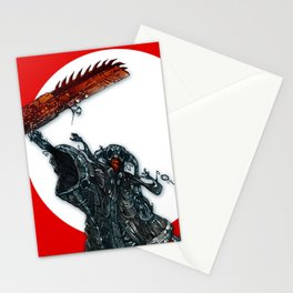 screaming chainsaw Stationery Cards