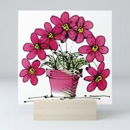 Seven Flowers (Pink): gorgeously simple original art, vibrant flowers in a pot Mini Art Print