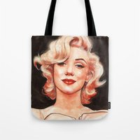 marilyn Tote Bags featuring Marilyn by Helen Green