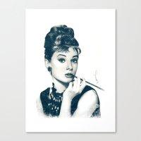 hepburn Canvas Prints featuring My Hepburn by Thubakabra