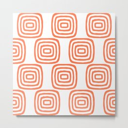 Mid Century Modern Concentric Pattern 355 Orange Metal Print