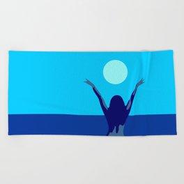 Blue sky and moon is calling me.. Beach Towel