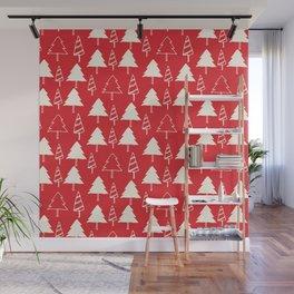 Christmas Tree Red Wall Mural