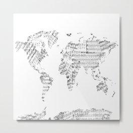 world map music vintage white Metal Print