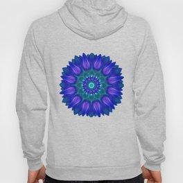 Flower Mandala With Glowing Shades of Blue Hoody
