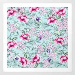 Floral Pattern Mint Art Print