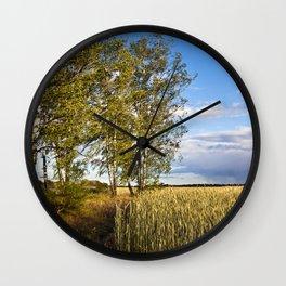 Corn Field with Birch Trees Wall Clock
